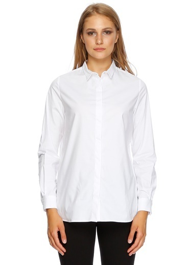 Fabrika Uzun Kollu Gömlek Beyaz